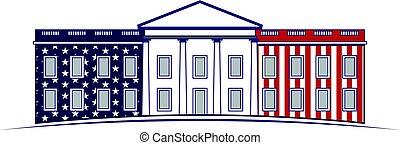 maison, 4 juillet, blanc, logo