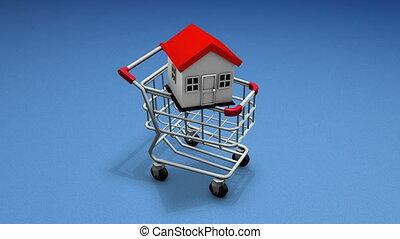 maison, achat, charrette