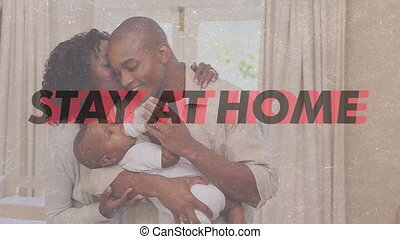 maison, africaine, famille, mots, américain, séjour
