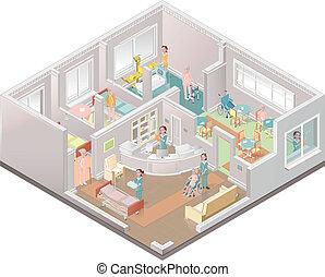 maison, aidé, facili, soins, vivant