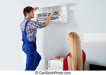 maison, air, technicien, climatiseur, réparation