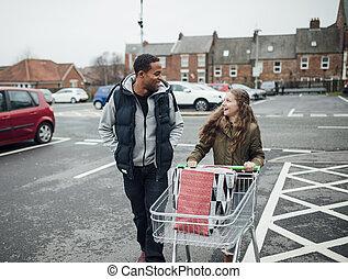 maison, aller, supermarché