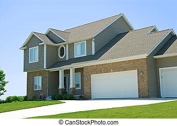 maison, américain, résidentiel, deux histoire