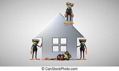 maison, amusement, suivant, business, grenouilles