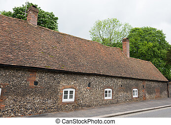 maison, anglaise, vieux,  village