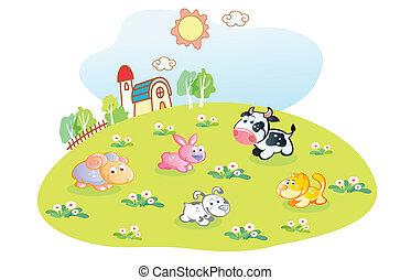 maison, animaux, jardin, dessin animé