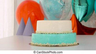 maison, anniversaire, table, gâteau