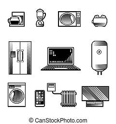 maison, appareils, icônes