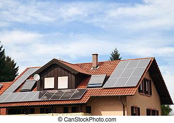 maison, appartement, solaire, toit, panneaux