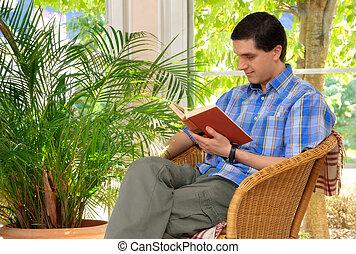 maison, apprécier, livre, homme