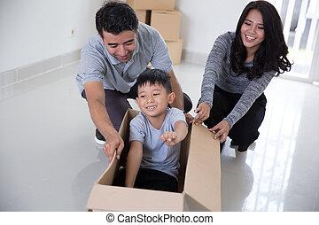 maison, apprécier, nouvelle famille, leur