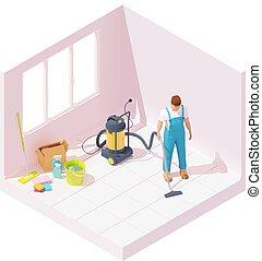maison, après, isométrique, rénovation, nettoyage, vecteur