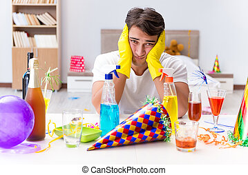 maison, après, nettoyage, fête, noël, homme