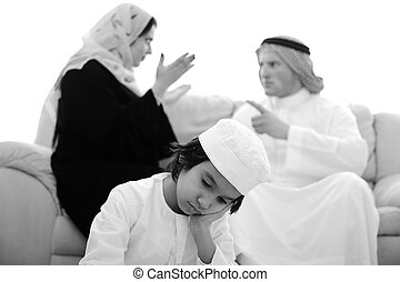 maison, arabe, famille, combat