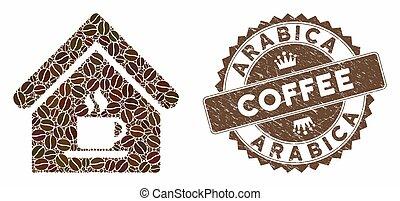 maison, arabica, café, cachet, café, gratté, mosaïque