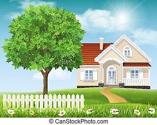 maison, arbre, colline