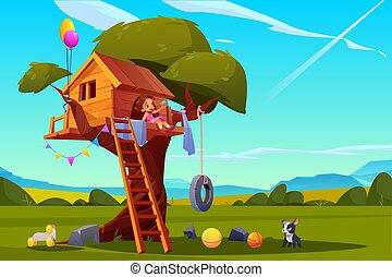 maison arbre, cour de récréation, enfant, girl, jouer