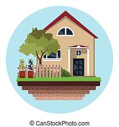 maison, arbre, jardin, barrière