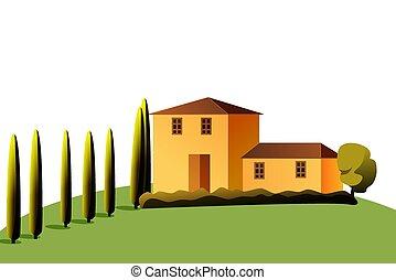 maison, arbre, lumière soleil, stylisé, vecteur, illustration