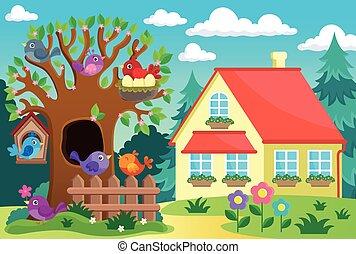 maison, arbre, oiseaux