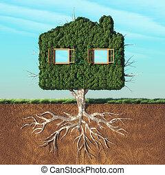 maison, arbre vert, formé