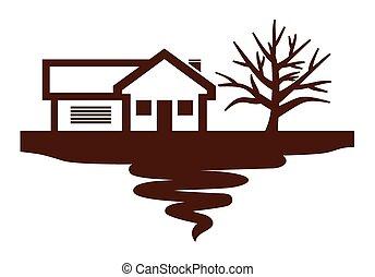 maison, arbre, vrai, icône, propriété