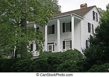 maison, arbres, antebellum