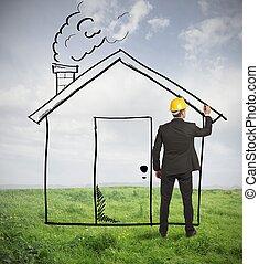 maison, architecte, dessin