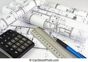 maison, architecte, rouleaux, plans
