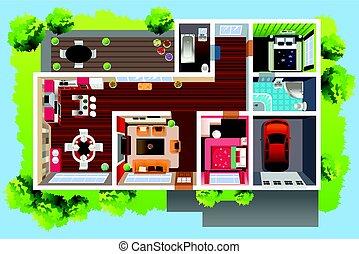 maison, architecture, affiché, au-dessus