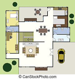 maison, architecture, floorplan, plan
