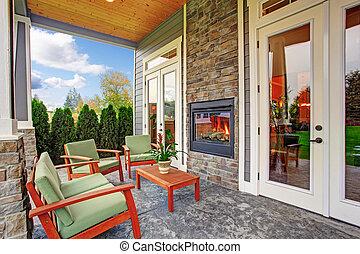 maison, arrière-cour, cheminée, confortable, luxe