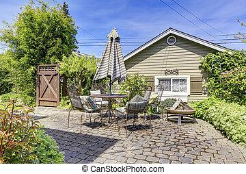 maison, arrière-cour, pont, patio, secteur