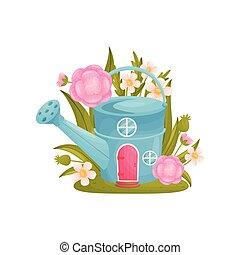 maison, arrosage, fée-conte, arrière-plan., flowers., vecteur, illustration, blanc, boîte