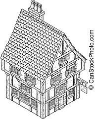 maison, auberge, icône, isométrique, vendange, pub, carte, public