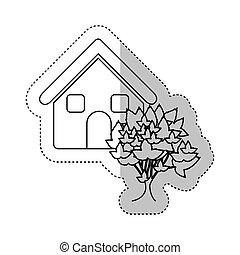 maison, autocollant, arbre, contour, monochrome