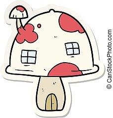 maison, autocollant, dessin animé, champignon