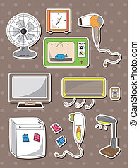 maison, autocollants, appareil, dessin animé
