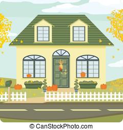 maison, automne