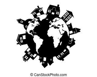 maison, autour de, mondiale