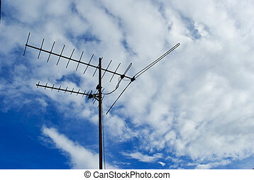 tv analogue d mod antenne bleu toit antenne sky tv directionnel vieux. Black Bedroom Furniture Sets. Home Design Ideas