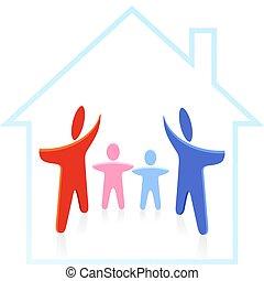 maison, avoir, construit, famille