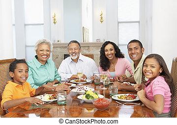 maison, avoir, ensemble, repas famille
