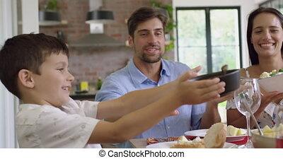 maison, avoir, repas, table, 4k, ensemble, dinning, famille