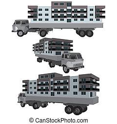 maison, bâtiments, camion, en mouvement