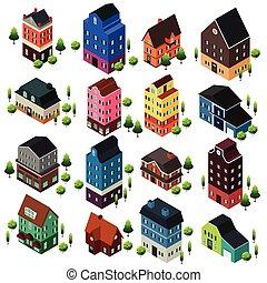 maison, bâtiments, isométrique, différent