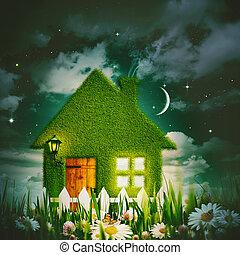 maison, backgrou, nuit, ambiant, vert, étoilé, sous, cieux