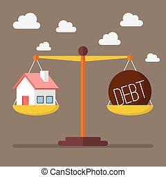 maison, balance équilibre, dette