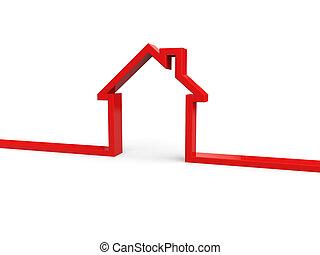 maison, bannière, contour, 3d