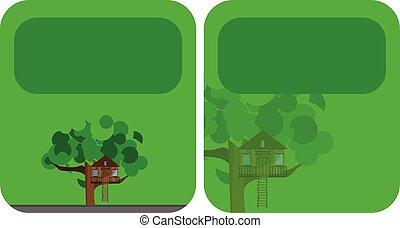 maison, bannières, arbre